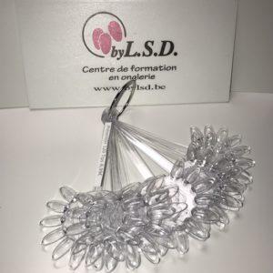 Présentoir avec 120 Tips de couleur transparent forme fleur